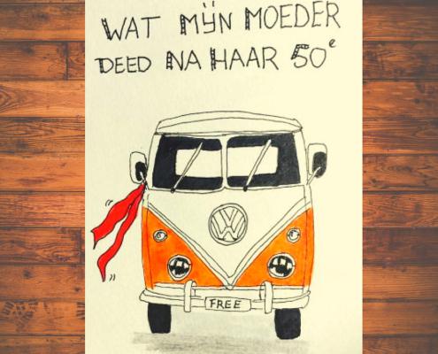 tekening oranje volkswagen busje met rode sjawl